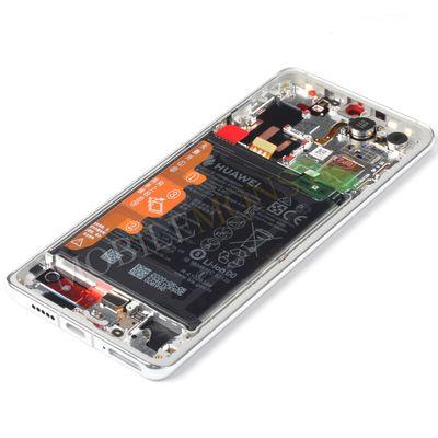 Displejs Huawei P30 Pro ar Skārienjūtīgo stiklu un apkart ramiti, ar akumulatoru Sudrabs
