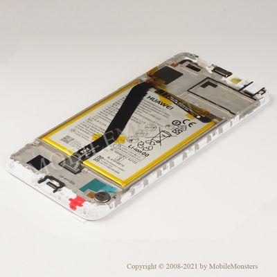 Displejs Huawei Y6 (2018) (ATU-L21) ar Skārienjūtīgo stiklu un apkart ramiti, ar akumulatoru Balts