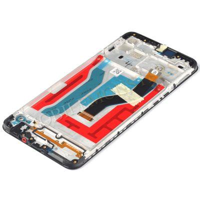 Displejs Samsung SM-A107F Galaxy A10s ar Skārienjūtīgo stiklu un apkart ramiti Melns