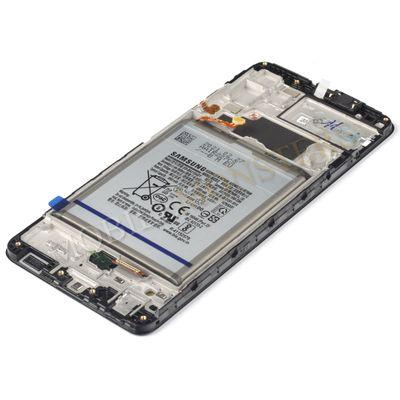 Displejs Samsung SM-A325F Galaxy A32 4G ar Skārienjūtīgo stiklu un apkart ramiti, ar akumulatoru Melns