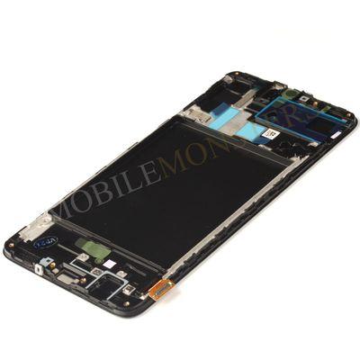 Displejs Samsung SM-A705F Galaxy A70 ar Skārienjūtīgo stiklu un apkart ramiti *Atjaunots* Melns