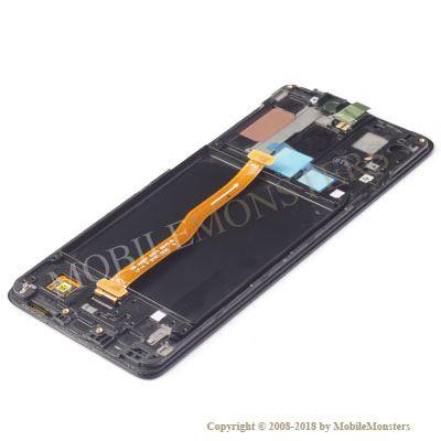 Displejs Samsung SM-A920F Galaxy A9 (2018) ar Skārienjūtīgo stiklu un apkart ramiti Melns