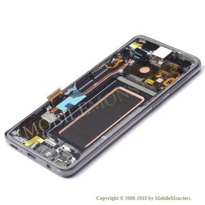 Displejs Samsung SM-G960F Galaxy S9 ar Skārienjūtīgo stiklu un apkart ramiti Pelēks