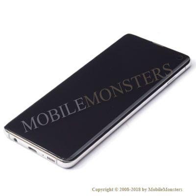 Displejs Samsung SM-G973F Galaxy S10 ar Skārienjūtīgo stiklu un apkart ramiti Balts