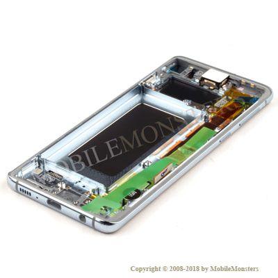Displejs Samsung SM-G973F Galaxy S10 ar Skārienjūtīgo stiklu un apkart ramiti Zils
