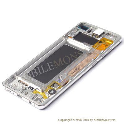 Displejs Samsung SM-G975F Galaxy S10+ ar Skārienjūtīgo stiklu un apkart ramiti Balts