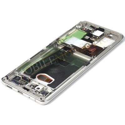 Displejs Samsung SM-G988 Galaxy S20 Ultra 5G ar Skārienjūtīgo stiklu un apkart ramiti Balts