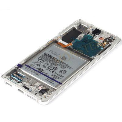 Displejs Samsung SM-G991 Galaxy S21 ar Skārienjūtīgo stiklu un apkart ramiti, ar akumulatoru Balts