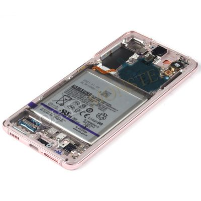 Displejs Samsung SM-G991 Galaxy S21 ar Skārienjūtīgo stiklu un apkart ramiti, ar akumulatoru Rozā