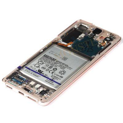 Displejs Samsung SM-G991 Galaxy S21 ar Skārienjūtīgo stiklu un apkart ramiti, ar akumulatoru Violets