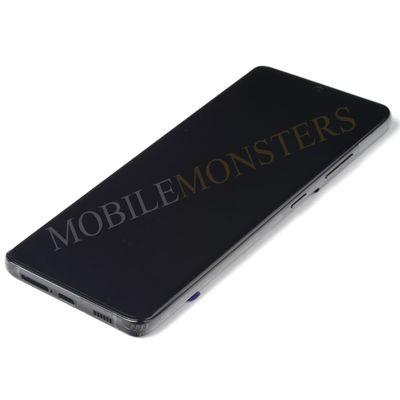 Displejs Samsung SM-G998 Galaxy S21 Ultra ar Skārienjūtīgo stiklu un apkart ramiti, ar akumulatoru Melns
