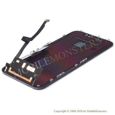 Displejs iPhone XR ar Skārienjūtīgo stiklu un apkart ramiti Melns