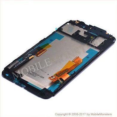 Displejs HTC One (E8) ar Skārienjūtīgo stiklu un apkart ramiti Melns