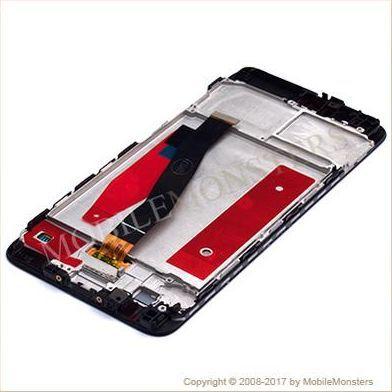 Displejs Huawei P10 (VTR-L29) ar Skārienjūtīgo stiklu un apkart ramiti Melns