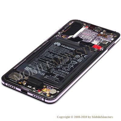 Displejs Huawei P20 Pro (CLT-L29) ar Skārienjūtīgo stiklu un apkart ramiti Violets