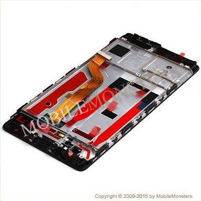 Displejs Huawei P9 (EVA-L19) ar Skārienjūtīgo stiklu un apkart ramiti Melns