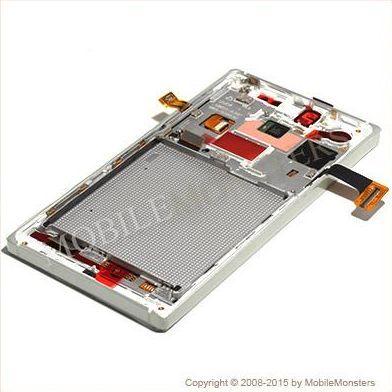 Displejs Nokia 830 Lumia ar Skārienjūtīgo stiklu un apkart ramiti Sudrabs