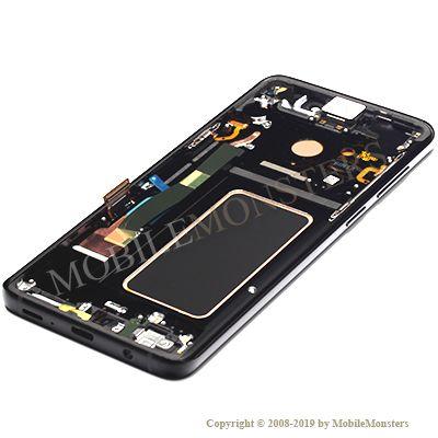 Displejs Samsung SM-G965F Galaxy S9+ ar Skārienjūtīgo stiklu un apkart ramiti Melns