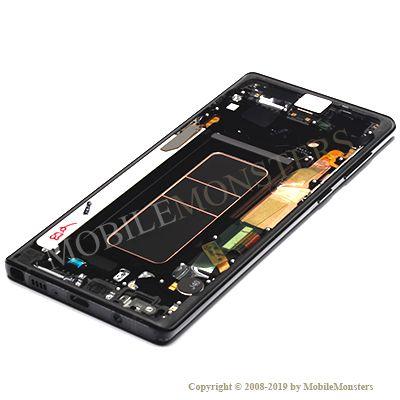 Displejs Samsung SM-N960F Galaxy Note 9 ar Skārienjūtīgo stiklu un apkart ramiti Melns