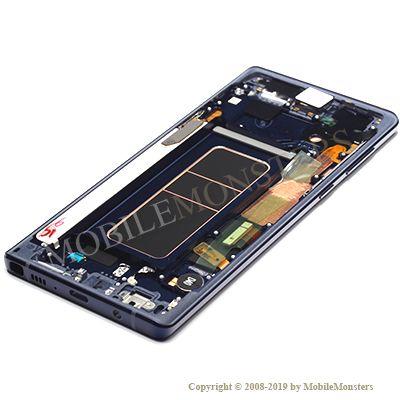 Displejs Samsung SM-N960F Galaxy Note 9 ar Skārienjūtīgo stiklu un apkart ramiti Zils