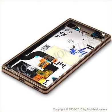 Displejs Sony E5603 Xperia M5 ar Skārienjūtīgo stiklu un apkart ramiti Zelts