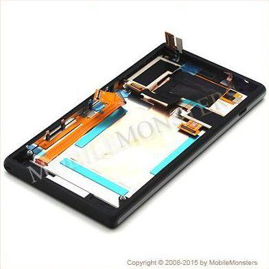 Displejs Sony D2303 Xperia M2  ar Skārienjūtīgo stiklu un apkart ramiti Melns