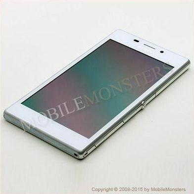 Displejs Sony D2303 Xperia M2  ar Skārienjūtīgo stiklu un apkart ramiti Balts