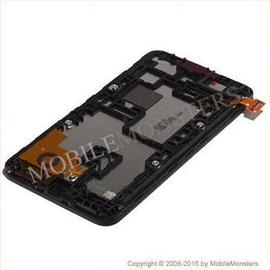Displejs Nokia 530 Lumia ar Skārienjūtīgo stiklu un apkart ramiti Melns