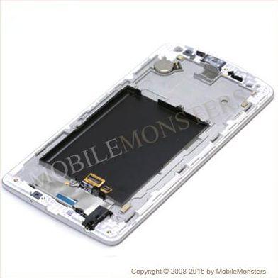 Displejs LG D722 G3 S ar Skārienjūtīgo stiklu un apkart ramiti Balts