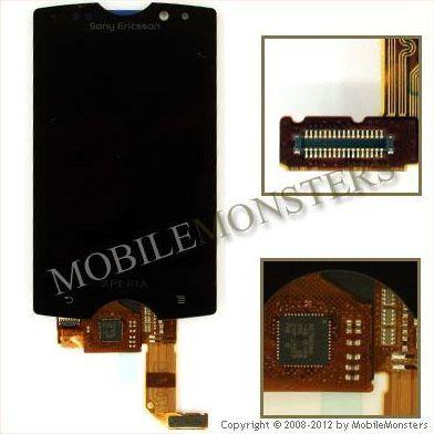 Displejs Sony Ericsson SK17 Xperia mini pro ar Skārienjūtīgo stiklu Melns