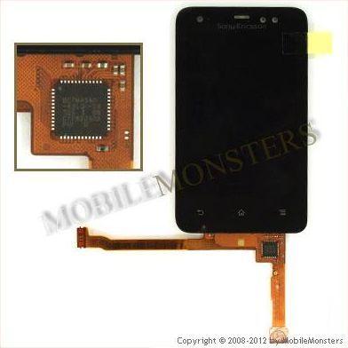 Displejs Sony Ericsson ST17i Xperia active ar Skārienjūtīgo stiklu un apkart ramiti Melns