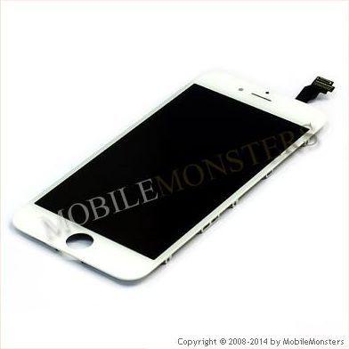 Displejs iPhone 6 (A1586) Kopija HQ, ar Skārienjūtīgo stiklu un apkart ramiti Balts