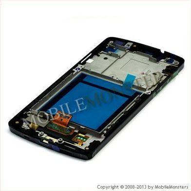Displejs LG D821 Nexus 5 ar Skārienjūtīgo stiklu un apkart ramiti *Atjaunots*, ar ramiti Melns