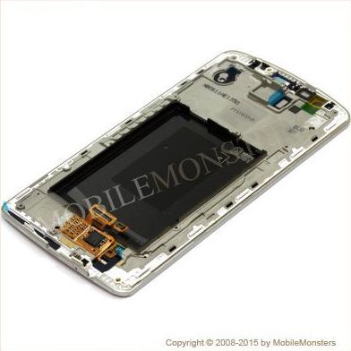 Displejs LG D855 G3 ar Skārienjūtīgo stiklu un apkart ramiti Balts