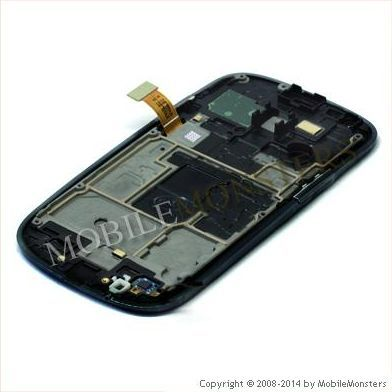 Displejs Samsung i8200 Galaxy S3 Mini VE ar Skārienjūtīgo stiklu un apkart ramiti Melns
