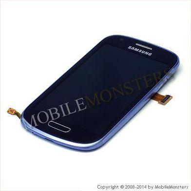 Displejs Samsung i8200 Galaxy S3 Mini VE ar Skārienjūtīgo stiklu un apkart ramiti Zils