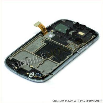 Displejs Samsung i8200 Galaxy S3 Mini VE ar Skārienjūtīgo stiklu un apkart ramiti Balts