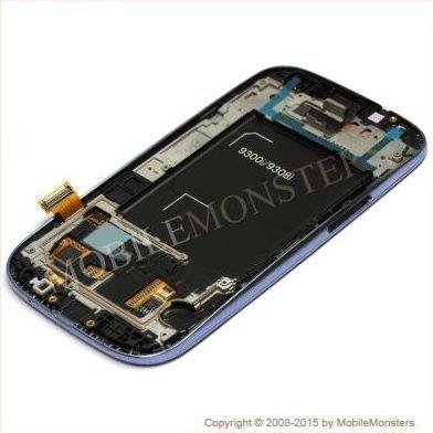 Displejs Samsung i9301i Galaxy S3 Neo ar Skārienjūtīgo stiklu un apkart ramiti Zils