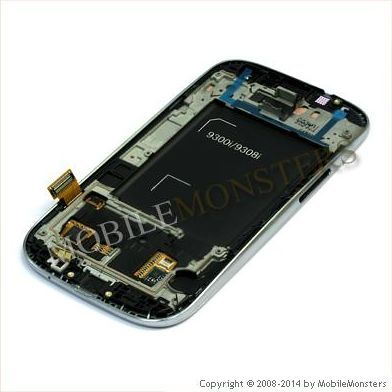 Displejs Samsung i9301i Galaxy S3 Neo ar Skārienjūtīgo stiklu un apkart ramiti Balts